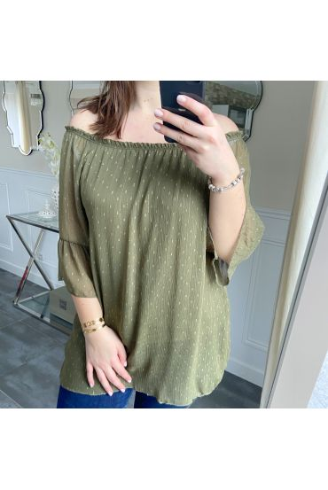 LARGE SIZE TUNIC NECKLINE ELASTIQUEE 5246 MILITARY GREEN