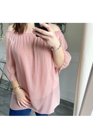 LARGE SIZE TUNIC NECKLINE ELASTIQUEE 5246 PINK