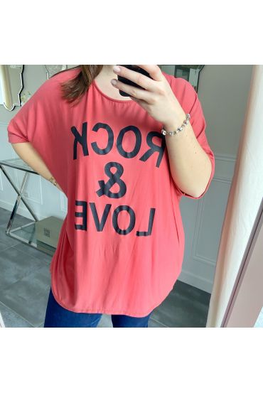 LARGE SIZE T-SHIRT ROCK AND LOVE 5227 RED