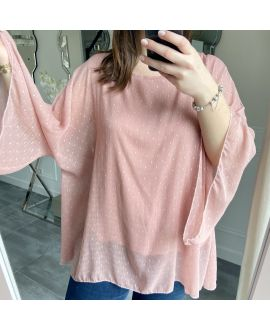 LARGE SIZE TUNIC SLEEVES BATS 5256 ROSE