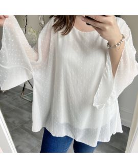 LARGE SIZE TUNIC SLEEVES BATS 5256 WHITE