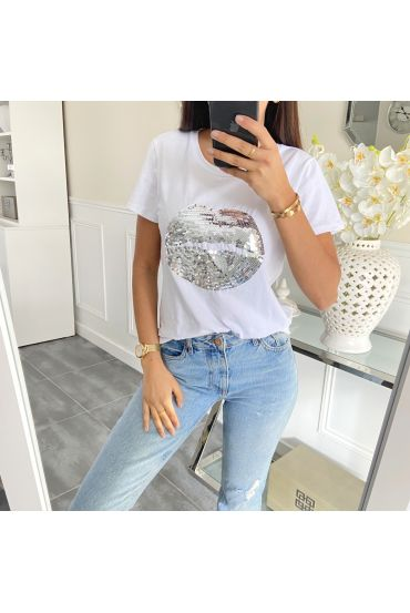 T-SHIRT MET STRASS 5441 WIT