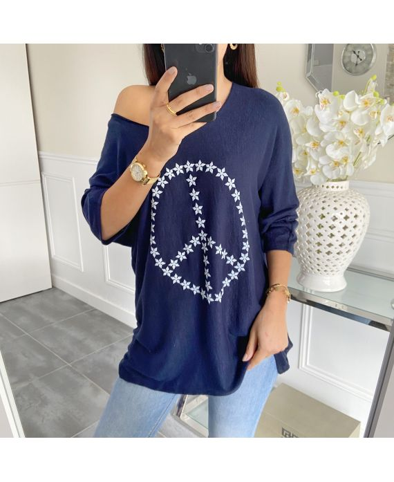 PULL THE END OF PEACE AND LOVE 5443 NAVY BLUE