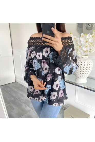 BLUSA FLORAL 5446 NEGRO