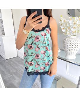 TOP CAMISOLE LACE PRINT FLORAL 5451 GREEN