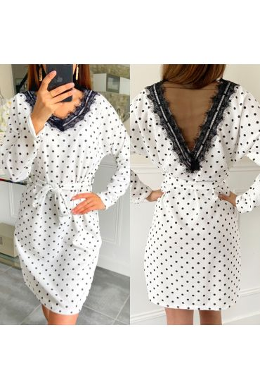 TUNIC DRESS HAS POLKA DOTS LACE 5423 WHITE