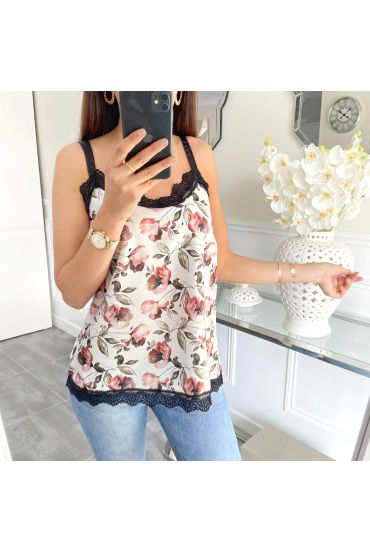 TOP CAMISOLE LACE PRINT FLORAL 5451 WHITE