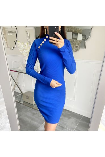 DRESS HAS BUTTONS 5418 ROYAL BLUE
