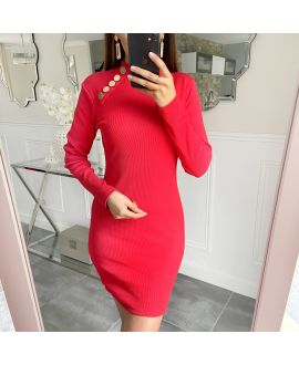 DRESS HAS BUTTONS 5418 RED