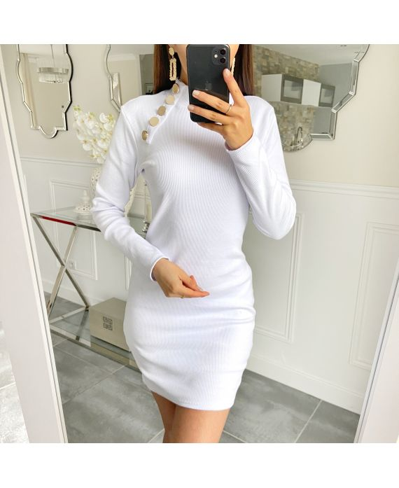 DRESS HAS BUTTONS 5418 WHITE