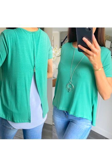 T-SHIRT BACK ZIP + NECKLACE 5478 GREEN