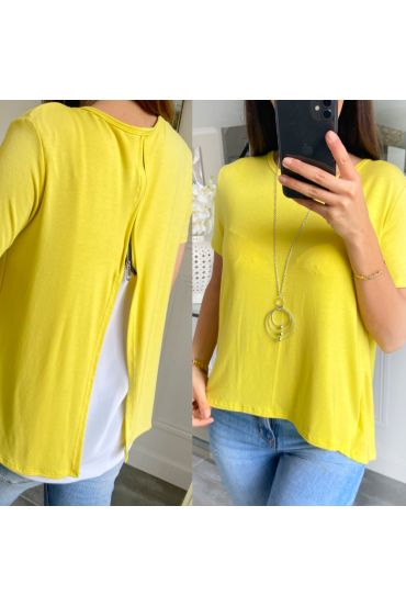 T-SHIRT BACK ZIP + NECKLACE 5478 YELLOW