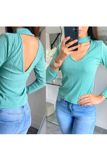 TOP OPEN HALS 5481 PASTEL GROEN