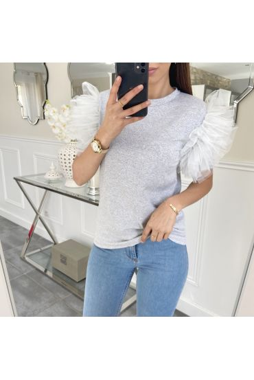 TOP MANCHES FROUFROUS 5474 GRIS