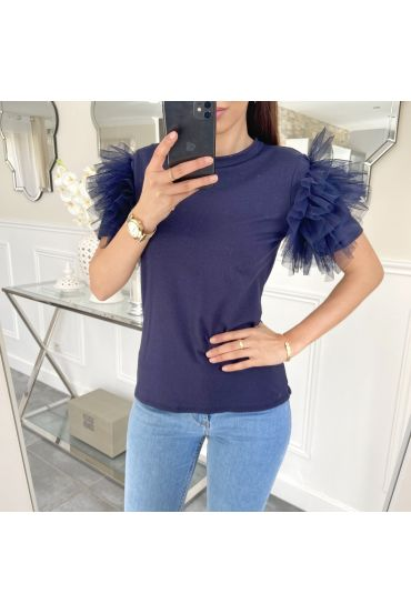 TOP KORTE FRILLY 5474 NAVY BLAUW