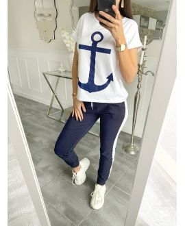 SET T-SHIRT + PANTS MARINE 5535 NAVY BLUE