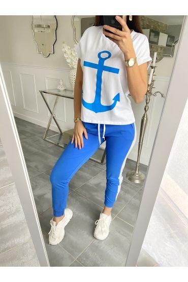 SET T-SHIRT + BROEK MARINE 5535 ROYAL BLUE