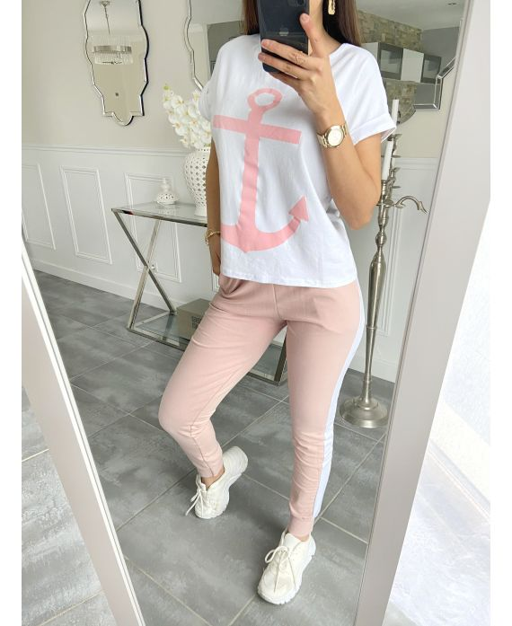 SET T-SHIRT + PANTS MARINE 5535 PINK