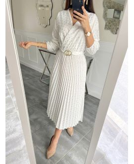 LONG DRESS HAS POLKA DOT PLEATS 5537 WHITE