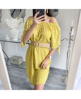 DRESS FLOWER NECKLINE ELASTIQUEE 5519 MUSTARD