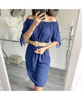 DRESS FLOWER NECKLINE ELASTIQUEE 5519 NAVY BLUE