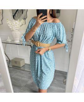DRESS FLOWER NECKLINE ELASTIQUEE 5519 PASTEL GREEN