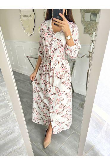 LONG DRESS FLOWER 5507 WHITE