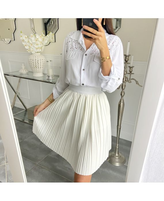 SHORT SKIRT WITH PLEATS 5493 WHITE