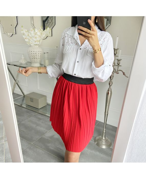 SHORT SKIRT WITH PLEATS 5493 RED
