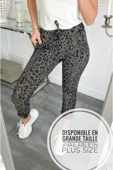 LARGE SIZE PANTS JOGG LEOPARD 0001 MILITARY GREEN