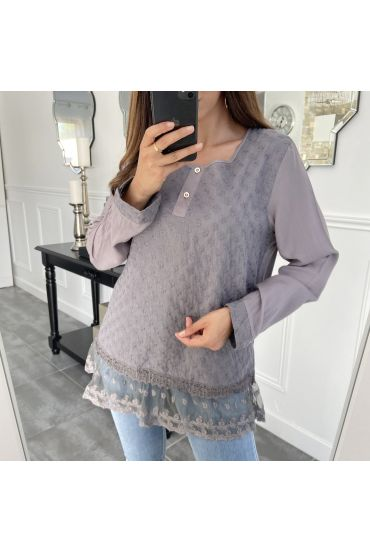 TUNIC MIX MATERIAL GREY 1091