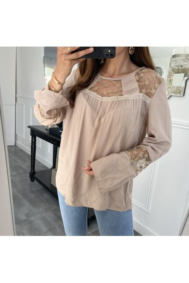 BLOUSE TERUG KNOPPEN KANT TAUPE 1053