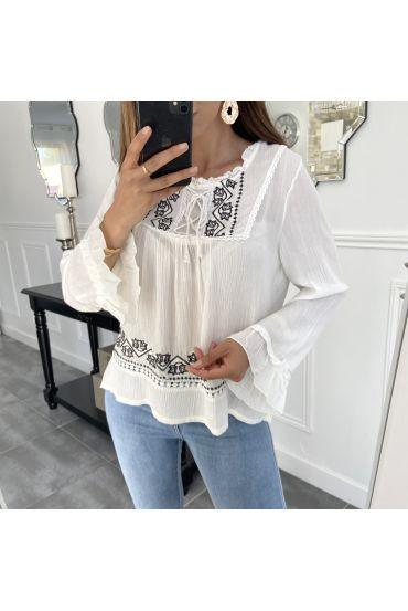 EMBROIDERED TUNIC WHITE 1076