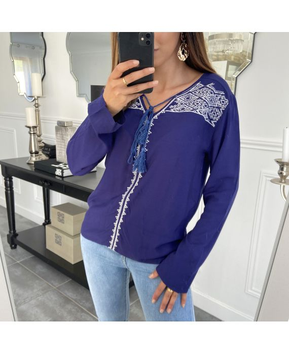 EMBROIDERED TUNIC NAVY 1071