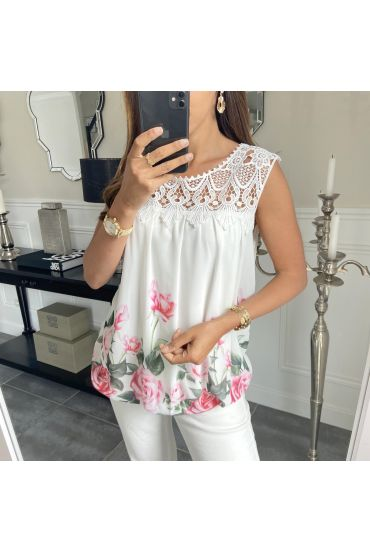 TOP PRINTS LACE 8018 WHITE