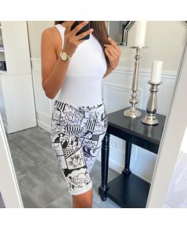 CAPRI PANTS PRINTS 8113 WHITE