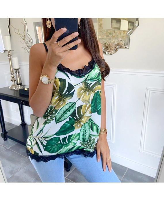 TOP CAMISOLE PRINTS TROPICAL 8720 WHITE