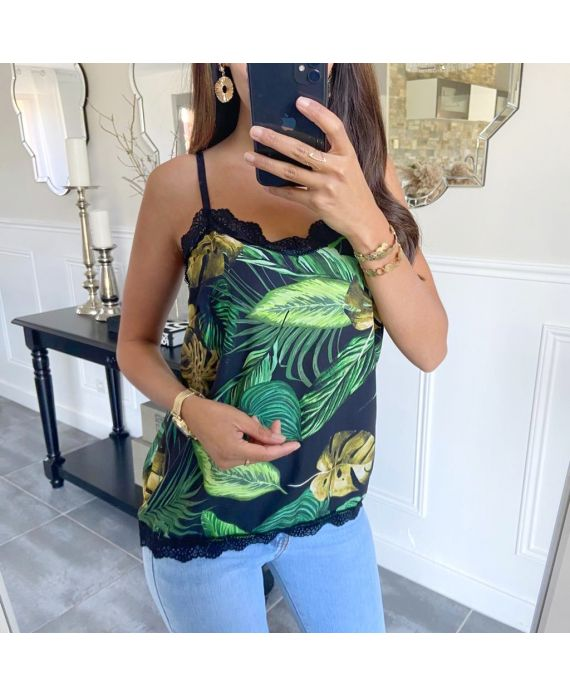 TOP CAMISOLE PRINTS TROPICAL 8720 BLACK