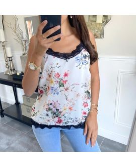 TOP CAMISOLE PRINT FLOWER 8720 WHITE
