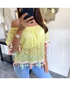 LACE TOP HAS POM-POMS BOHEME 8865 YELLOW