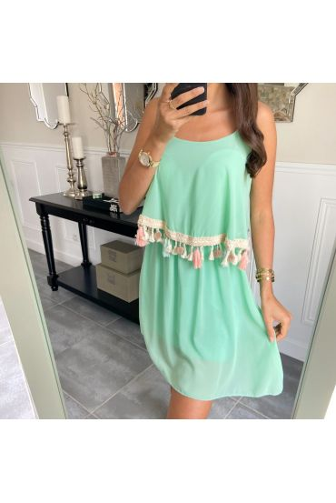 DRESS pom poms A3008 PASTEL GREEN