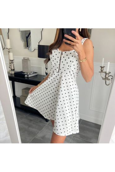 DRESS HAS POLKA DOT 3598 WHITE