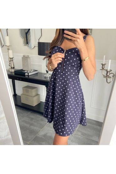 DRESS HAS POLKA DOT 3598 NAVY BLUE