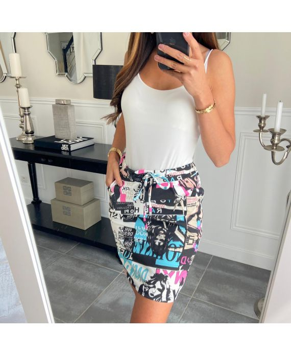SKIRT PRINTED 3200 BLACK