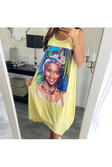 DRESS AFRICAN WOMAN 8794 YELLOW
