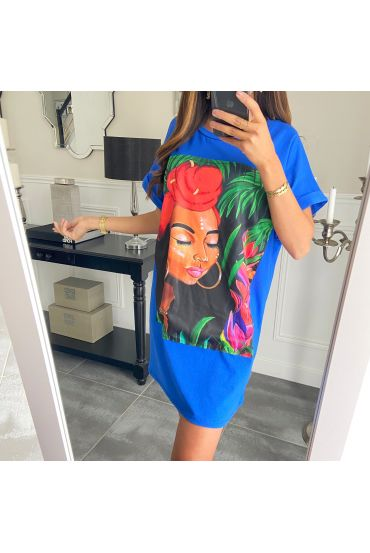 TUNIC OVERSIZE AFRICAN WOMAN 8916 ROYAL BLUE