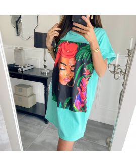 TUNIC OVERSIZE AFRICAN WOMAN 8916 GREEN