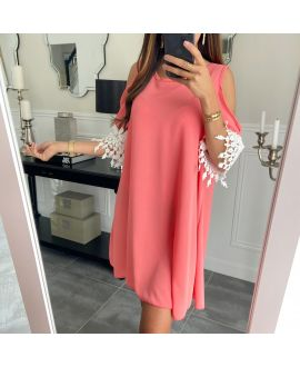 DRESS SLEEVES LACE 6624 CORAL