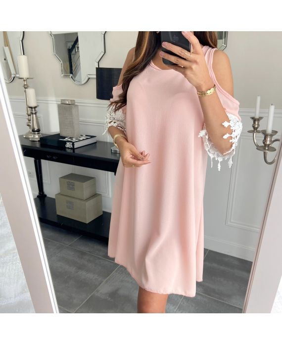 DRESS SLEEVES LACE 6624 PINK