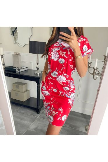 DRESS FLOWERS POCKETS 8615 RED